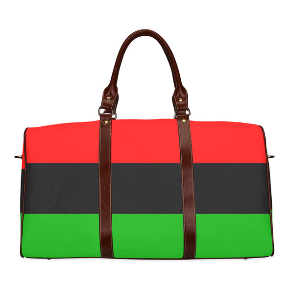 red, black and green pan african travel bag