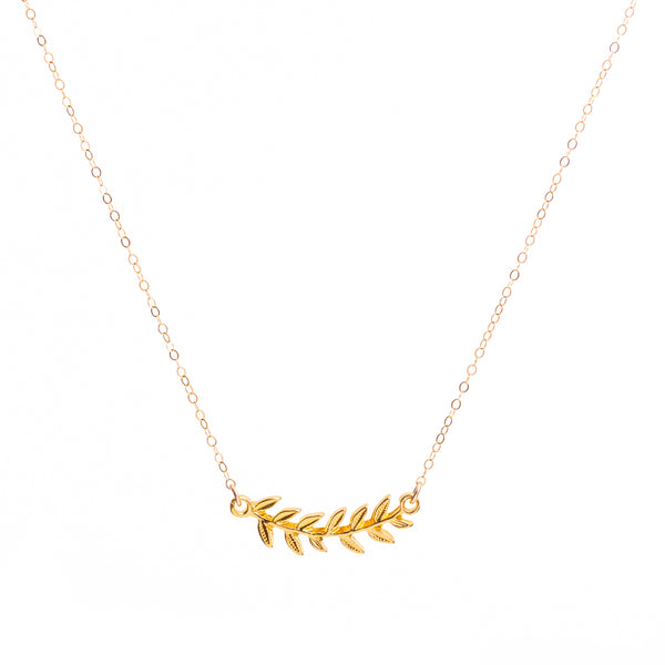 18k Gold Leaf Necklace Handmade UK
