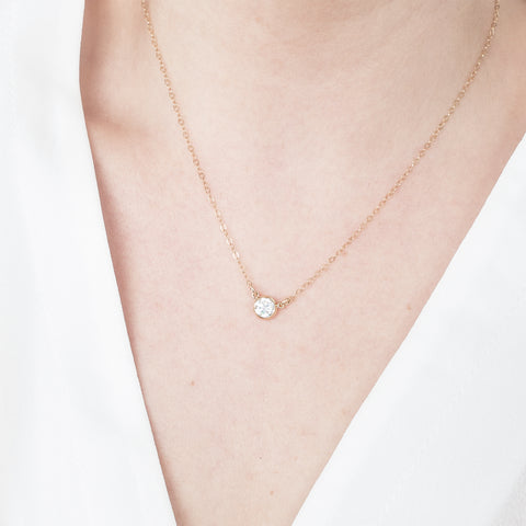 Minimal Gold CZ Diamond Necklace Handmade UK