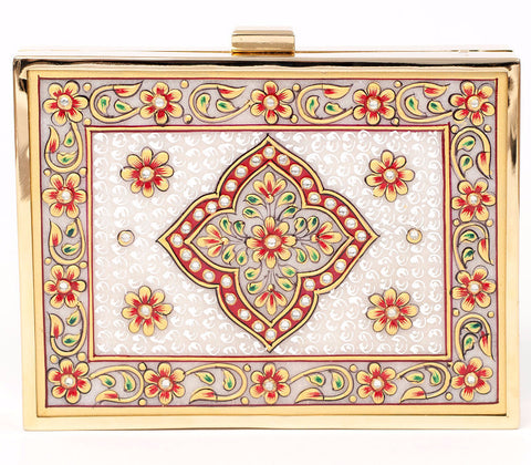 Unabashed™ Medallion Hand-Painted Marble Clutch- Red - Not Only Bags