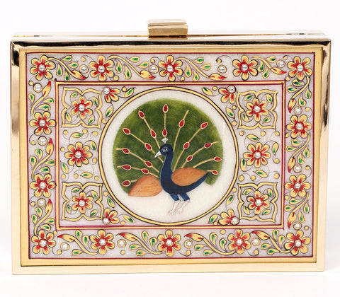 Unabashed™ Medallion Hand-Painted Marble Clutch- Peacock - Not Only Bags