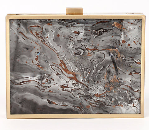 Unabashed™ Hand-Marbled Metal Clutch- Gray - Not Only Bags