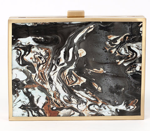 Unabashed™ Hand-Marbled Metal Clutch- Black - Not Only Bags