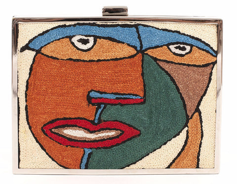 Unabashed™ Hand-Embroidered Cubism Clutch- Tan - Not Only Bags