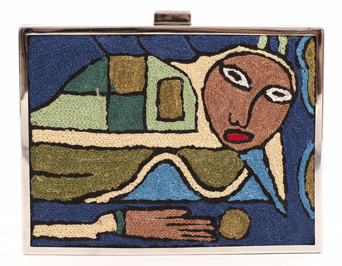 Unabashed™ Hand-Embroidered Cubism Clutch- Blue - Not Only Bags