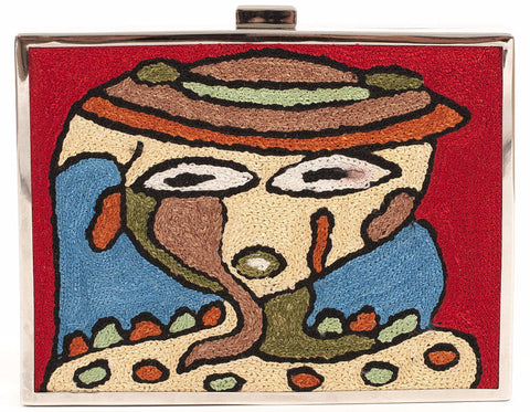Unabashed™ Hand-Embroidered Cubism Clutch- Red - Not Only Bags