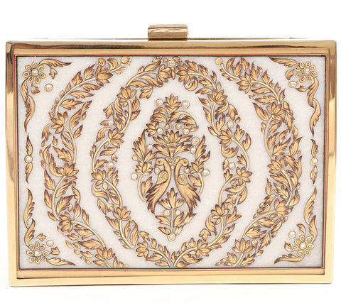 Unabashed™ Medallion Hand-Painted Marble Clutch- Wreath - Not Only Bags