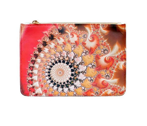 Unabashed™ Fractal Art Pouch- Orange Swirl - Not Only Bags