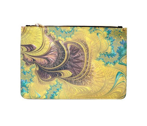Unabashed™ Fractal Art Pouch- Yellow Swirl - Not Only Bags