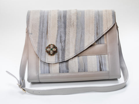 Porsche Messenger Bag- Smoke and Ivory - Not Only Bags