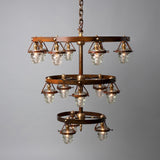 Triple Telegraph Chandelier