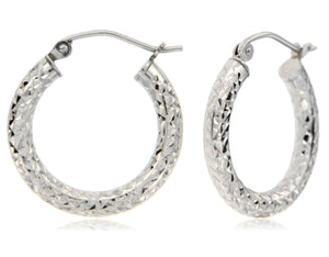 Classic and Dazzling 925 Sterling Silver Hoop Earrings ⊶Various Sizes Available⊷