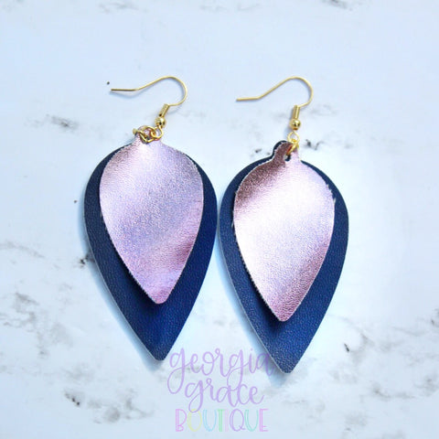 Penelope Earrings - Navy and Rose Gold Leather Earrings