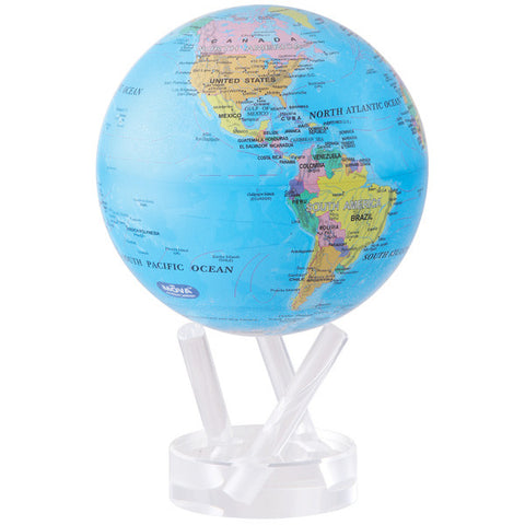 "Blue with Political Map MOVA Globe - 4.5"" Diameter"