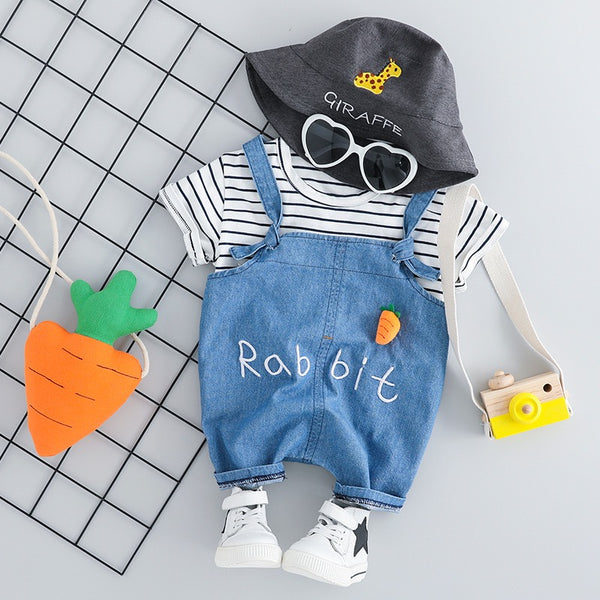 Striped Tshirt And Denim Dungaree Set