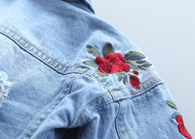 Flower Embroidered Denim Jacket