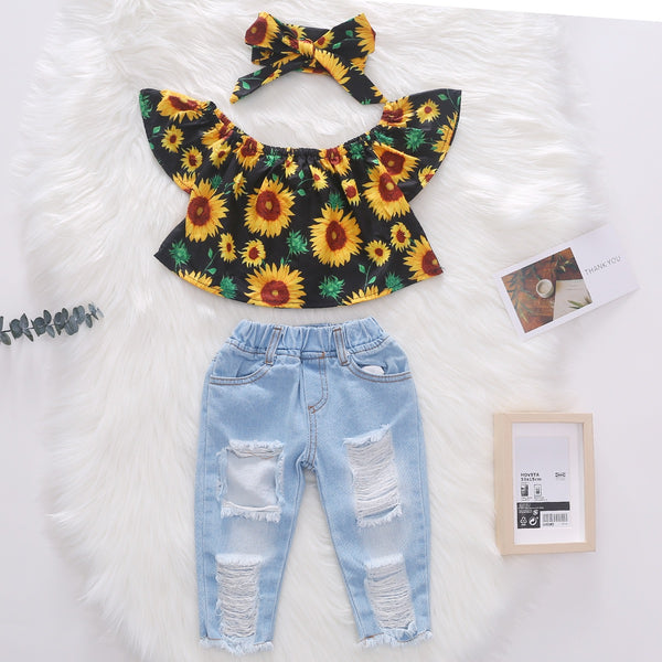Off Shoulder Floral Top And Rugged Denim Set