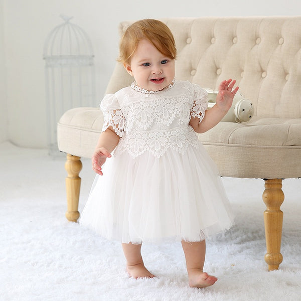 Embroidered White Party Dress