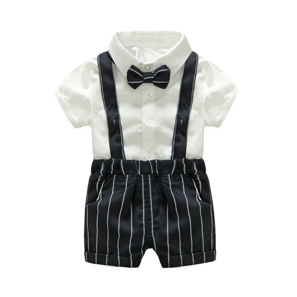 White Bow Shirt And Striped Suspender Shorts Set