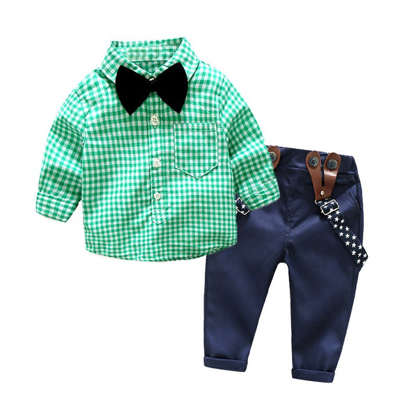 Plaided Shirt With Bow And Suspenders Pant