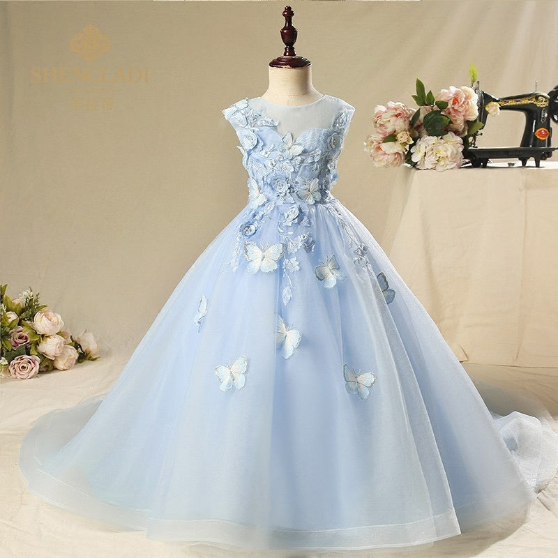 Butterfly Appliqué Party Gown