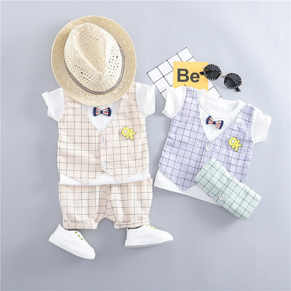 Plaided Waistcoat Attached Summer Set