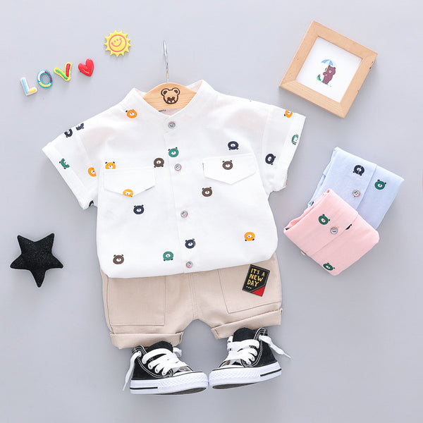 Cartoon Printed Shirt And Shorts Set