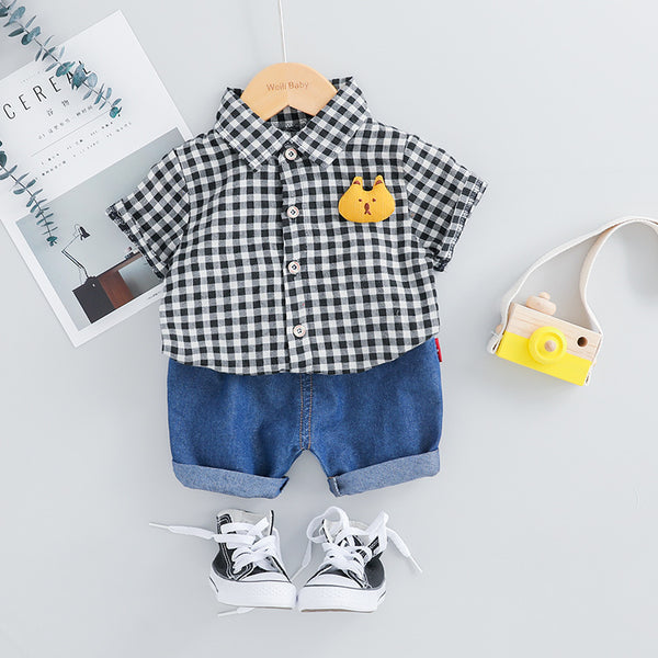 Plaided Bear Summer Set