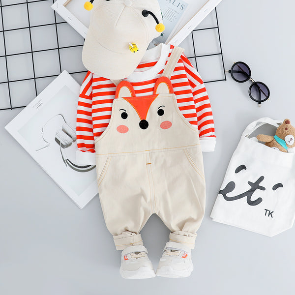 Striped Sweatshirt And Fox Dungaree Set