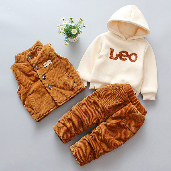 Corduroy Winter Set With Hooded Sweatshirt And West