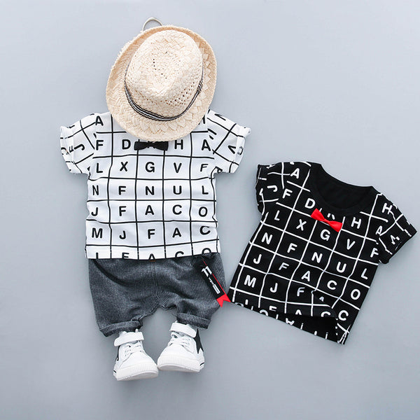 Alphabets Printed Bow Summer Set