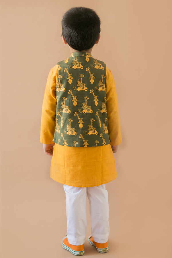 3 Pc Olive Comic Jungle Print Nehru Jacket Kurta Set