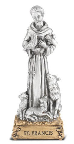 St. Francis of Assisi Pewter Statue on base