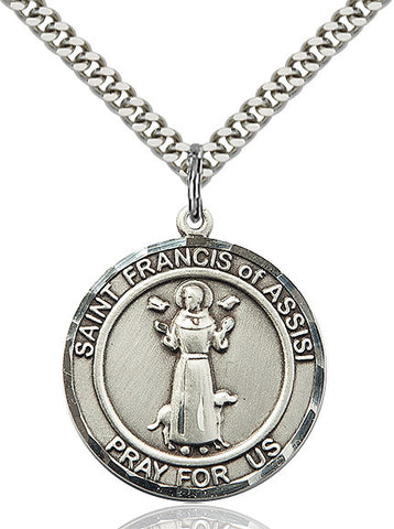 St. Francis of Assisi Medal  Sterling Silver 3/4""