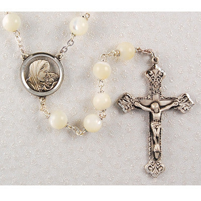 8mm Genuine Mother of Pearl Rosary - Discount Catholic Store