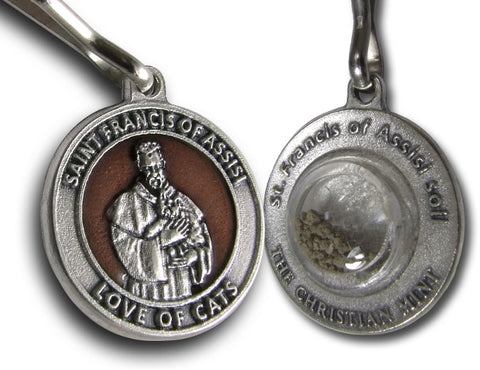 St. Francis Cat Medal with Soil