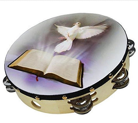 "Zebra Sounds Tambourine 10"" Dove Bible Double Row Percussion Church Instrument - Audiovideodirect"