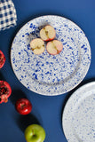 withe dinner plates with navy blue design