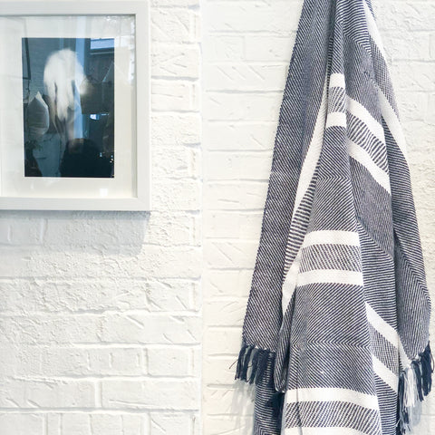 Nolita Throw Blanket in Navy Blue