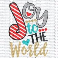 "Ready to Press Heat Transfers-- ""Joy to the World Striped Candy Cane"""