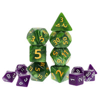 Green Pearl Dice with Gold Paint - Giant 7 Polyhedral Set (Acrylic)