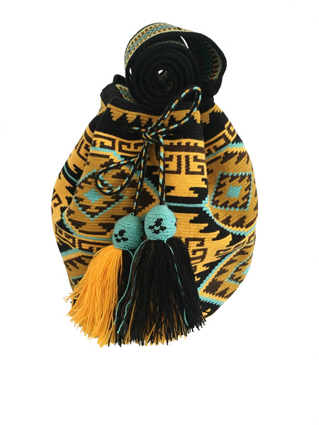 Image of one strand Wayuu mochila bag, drawstring crossbody bag with tassels - base color black with yellow, blue and brown colors