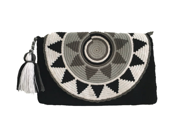 Close up image of Wayuu small clutch purse with tassel and zipper - envelope style design/black, white and gray colors