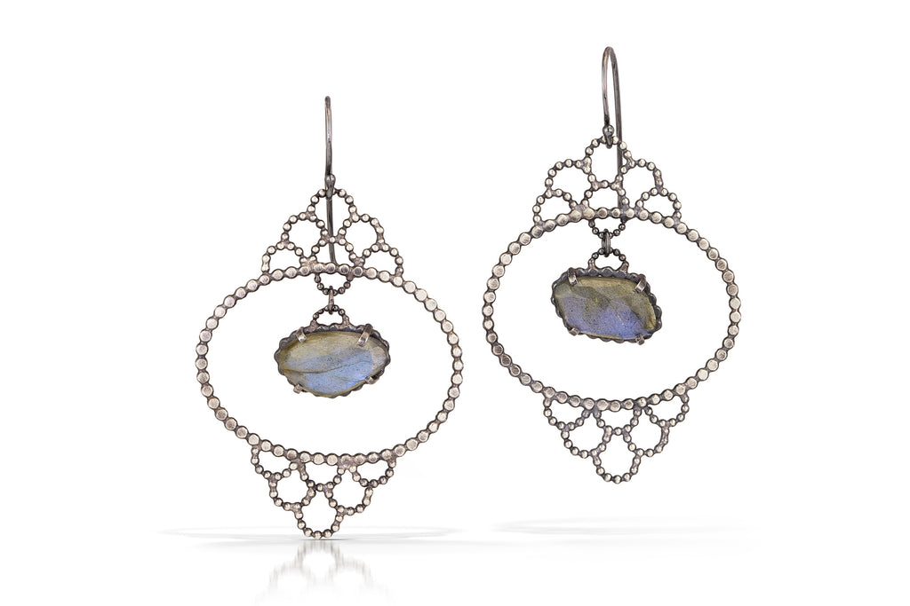Handmade  Labradorite Lacy Earrings