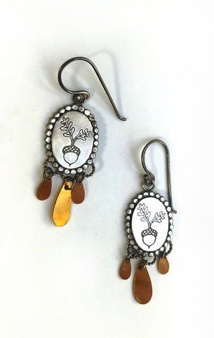 Handmade Acorn and Golden Drop Earrings
