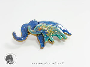 Elephant Mother And Child Brooch