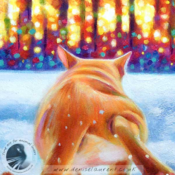 ginger burmese cat in the snow art print