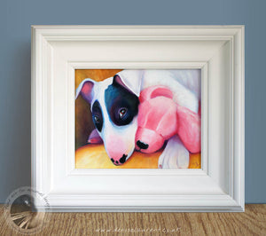 "Pink Bear - 10""x8"" Oil Painting Framed"