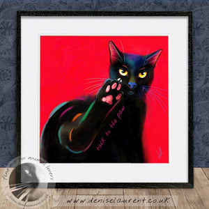 contemporary black cat wallart framed