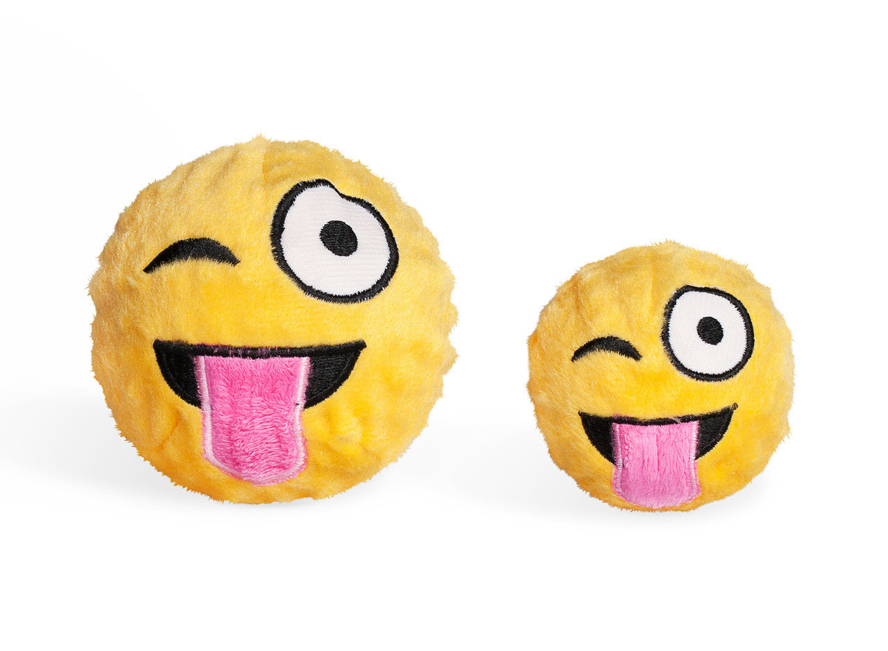 Tongue Out Emoji squeaky dog toy @PawBoutik